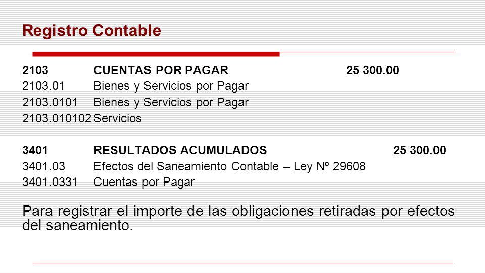 Registro Contable 2103 CUENTAS POR PAGAR 25 300.00. 2103.01 Bienes y Servicios por Pagar. 2103.0101 Bienes y Servicios por Pagar.