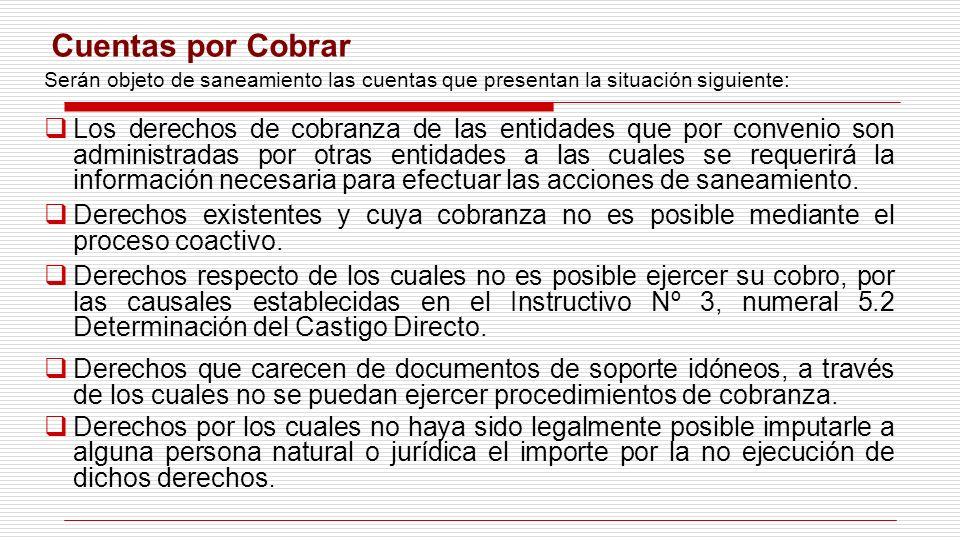 Cuentas por Cobrar Serán objeto de saneamiento las cuentas que presentan la situación siguiente: