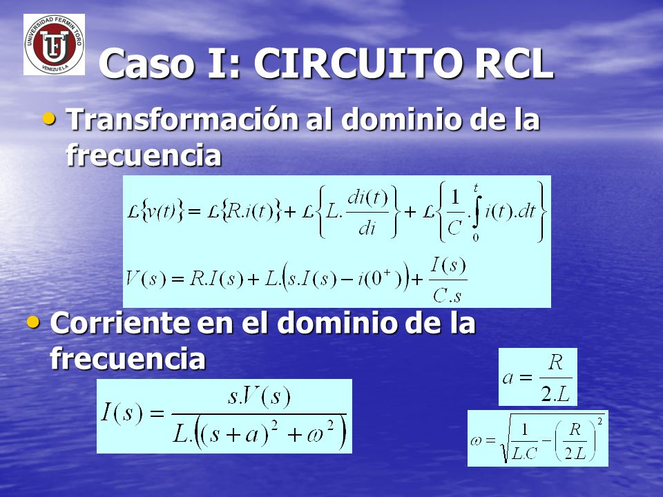 Caso I: CIRCUITO RCL Transformación al dominio de la frecuencia