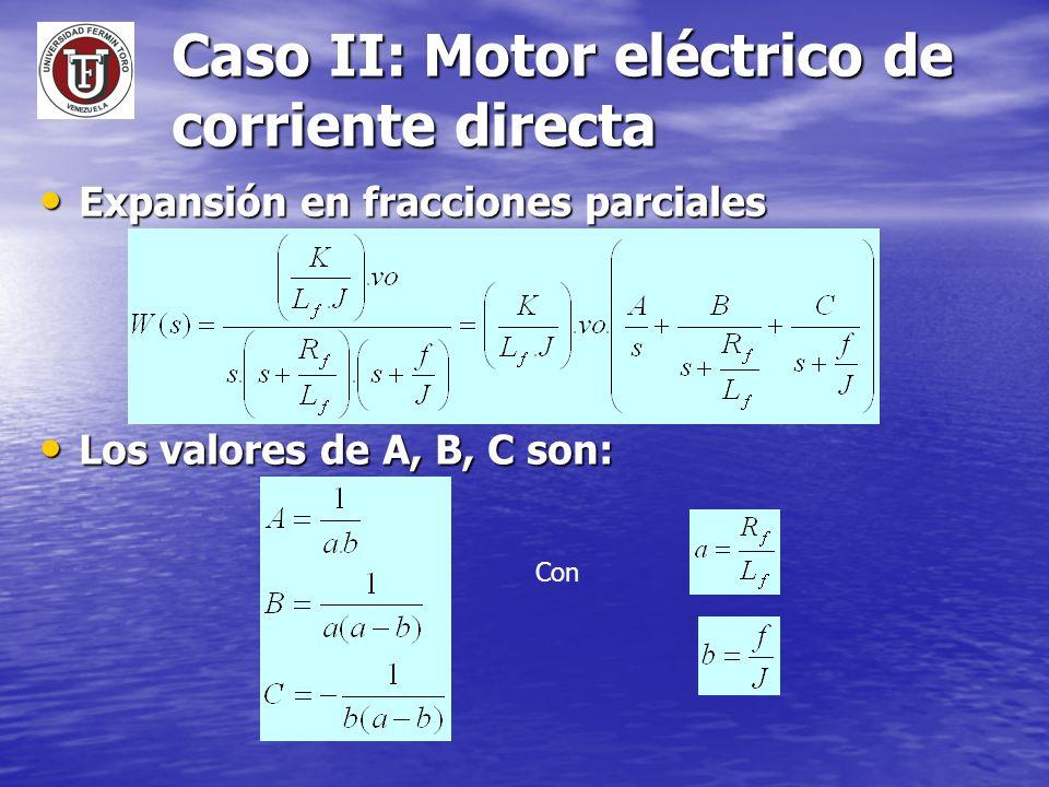 Caso II: Motor eléctrico de corriente directa