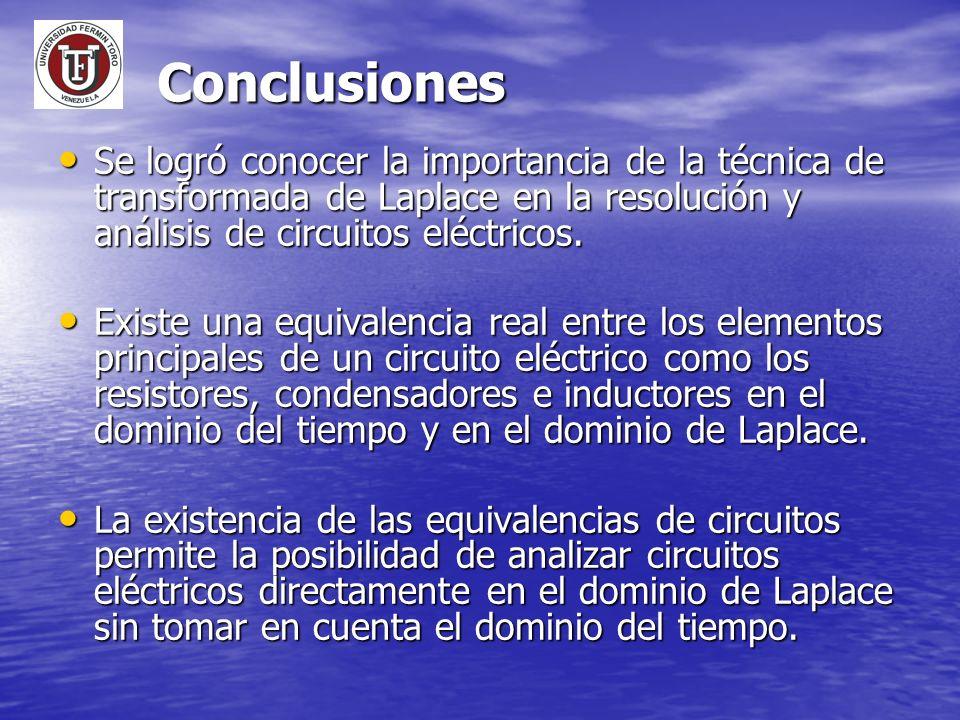 Conclusiones Se logró conocer la importancia de la técnica de transformada de Laplace en la resolución y análisis de circuitos eléctricos.