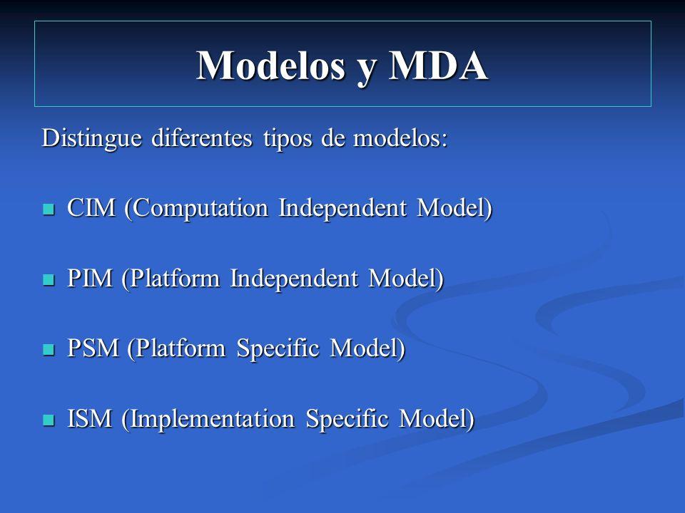 Modelos y MDA Distingue diferentes tipos de modelos:
