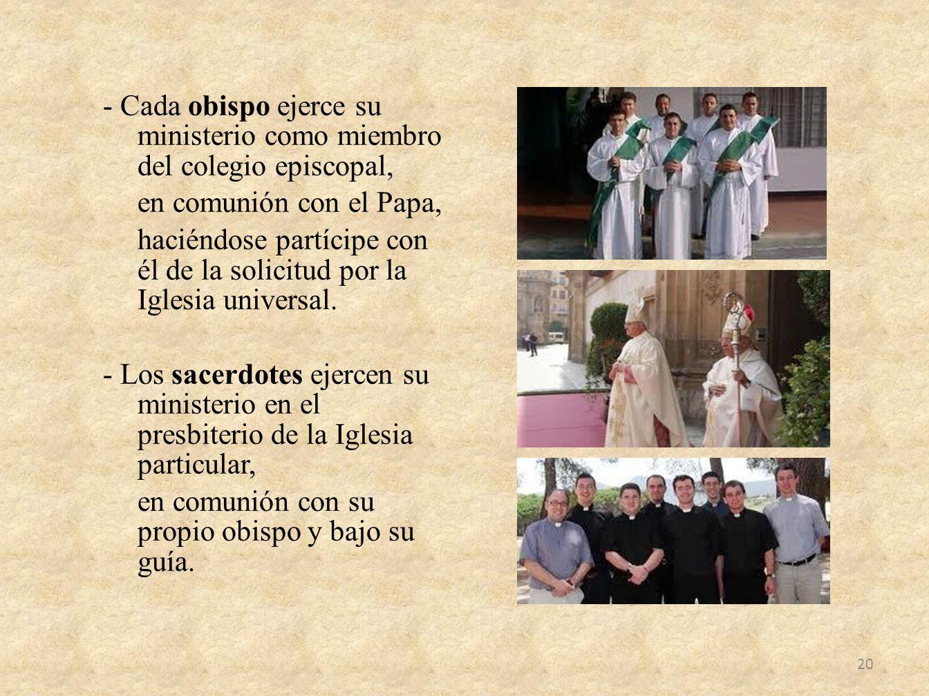 - Cada obispo ejerce su ministerio como miembro del colegio episcopal, en comunión con el Papa, haciéndose partícipe con él de la solicitud por la Iglesia universal.