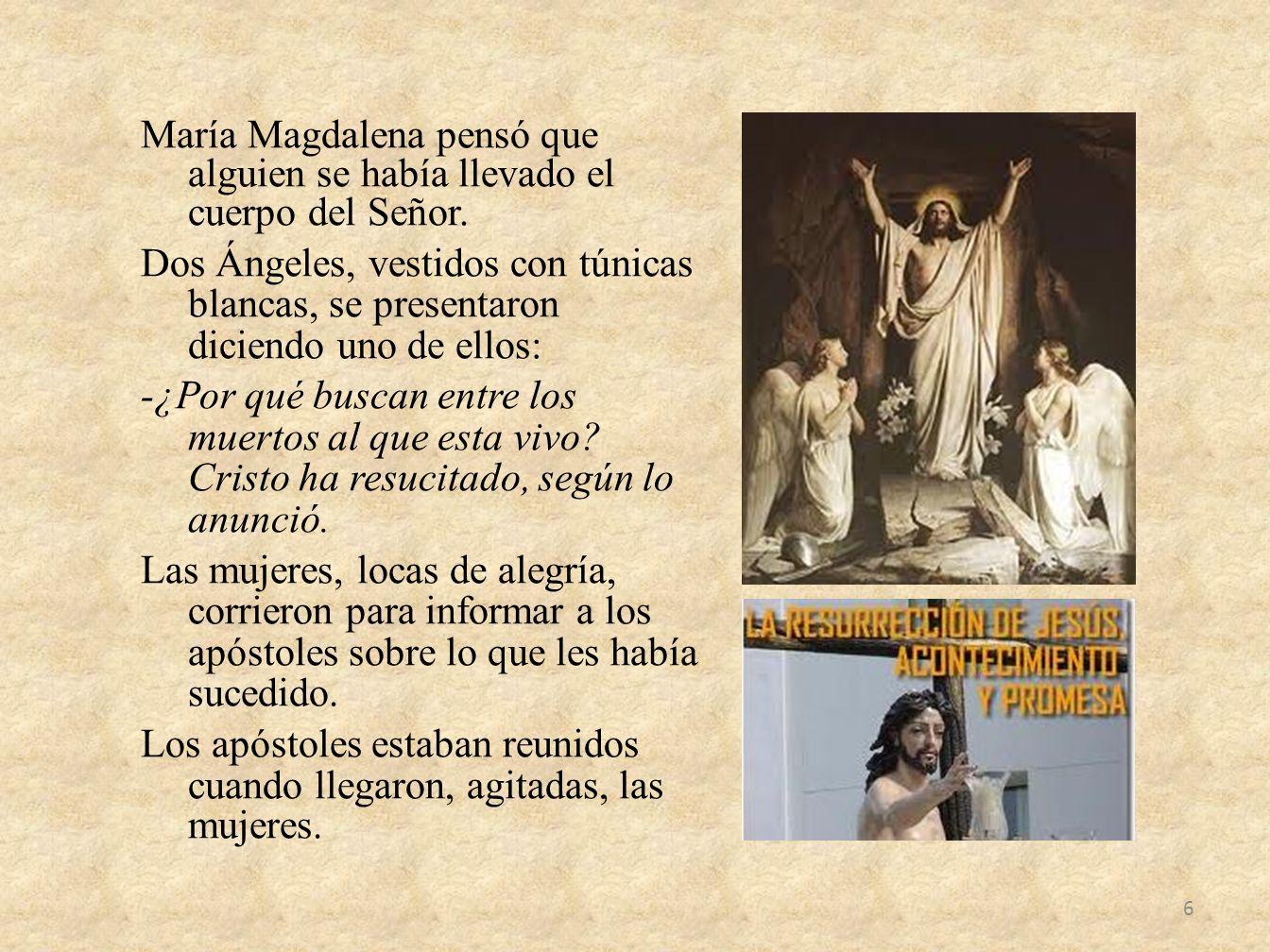 María Magdalena pensó que alguien se había llevado el cuerpo del Señor