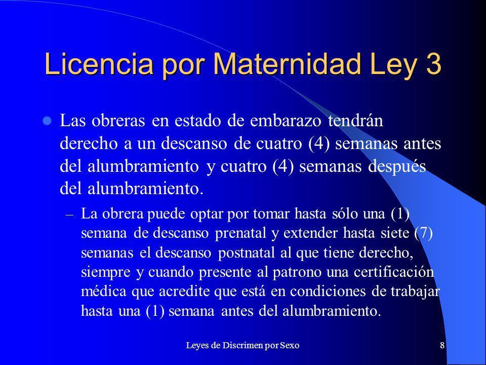 Licencia por Maternidad Ley 3