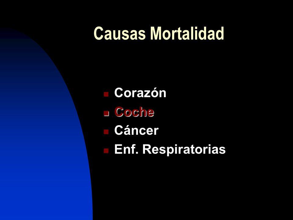 Causas Mortalidad Corazón Coche Cáncer Enf. Respiratorias