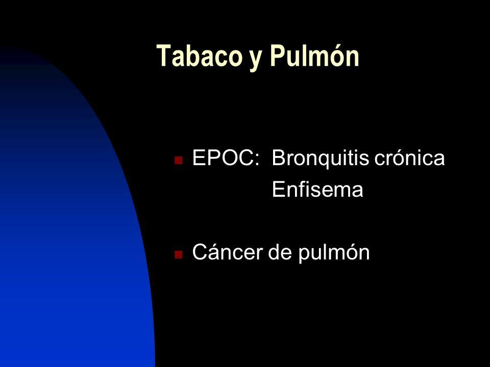 Tabaco y Pulmón EPOC: Bronquitis crónica Enfisema Cáncer de pulmón