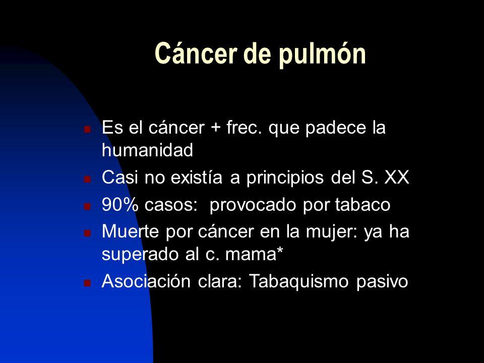 Cáncer de pulmón Es el cáncer + frec. que padece la humanidad
