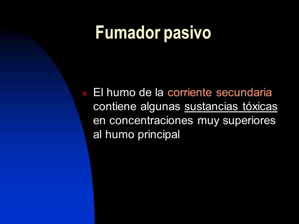 Fumador pasivo El humo de la corriente secundaria contiene algunas sustancias tóxicas en concentraciones muy superiores al humo principal.