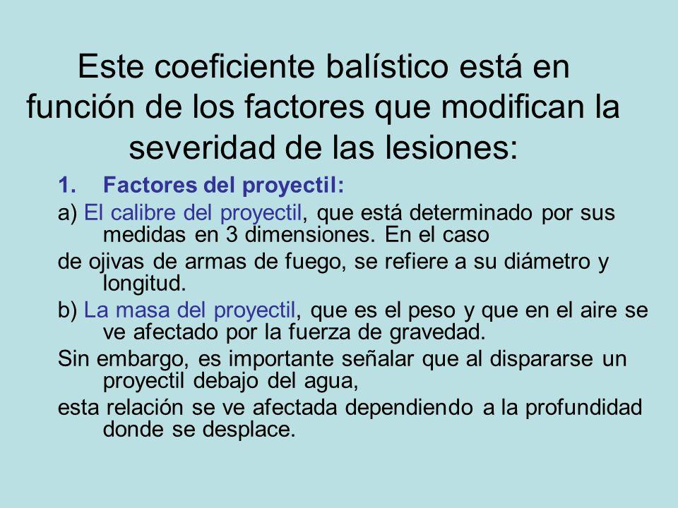 Este coeficiente balístico está en función de los factores que modifican la severidad de las lesiones: