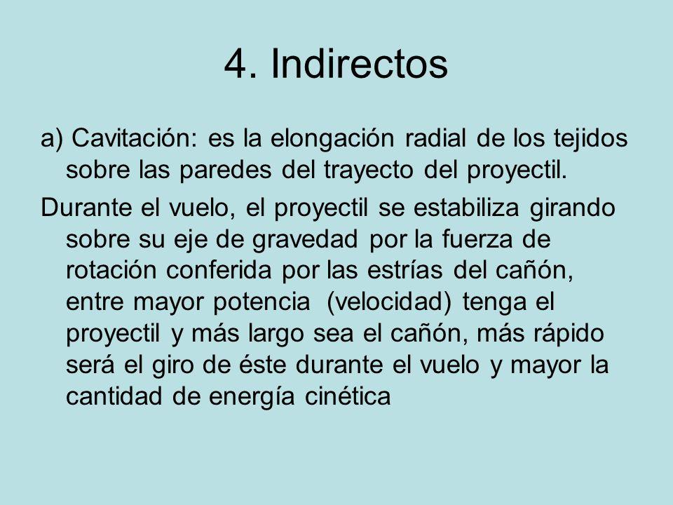 4. Indirectosa) Cavitación: es la elongación radial de los tejidos sobre las paredes del trayecto del proyectil.