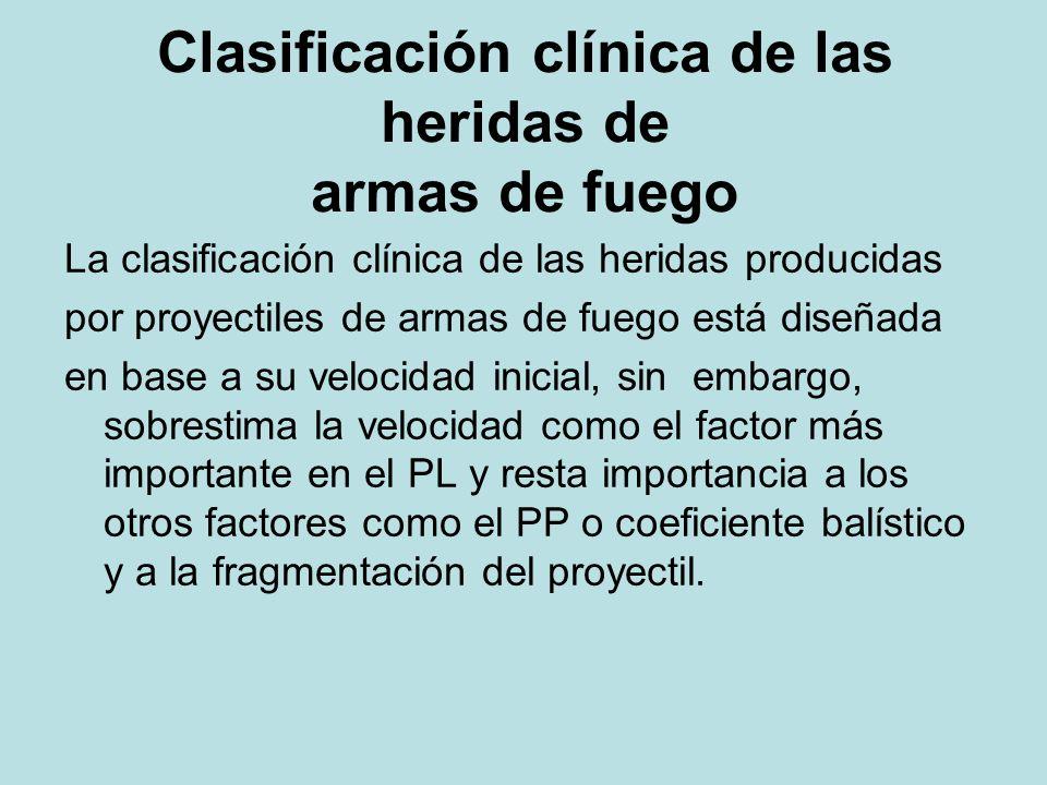 Clasificación clínica de las heridas de armas de fuego