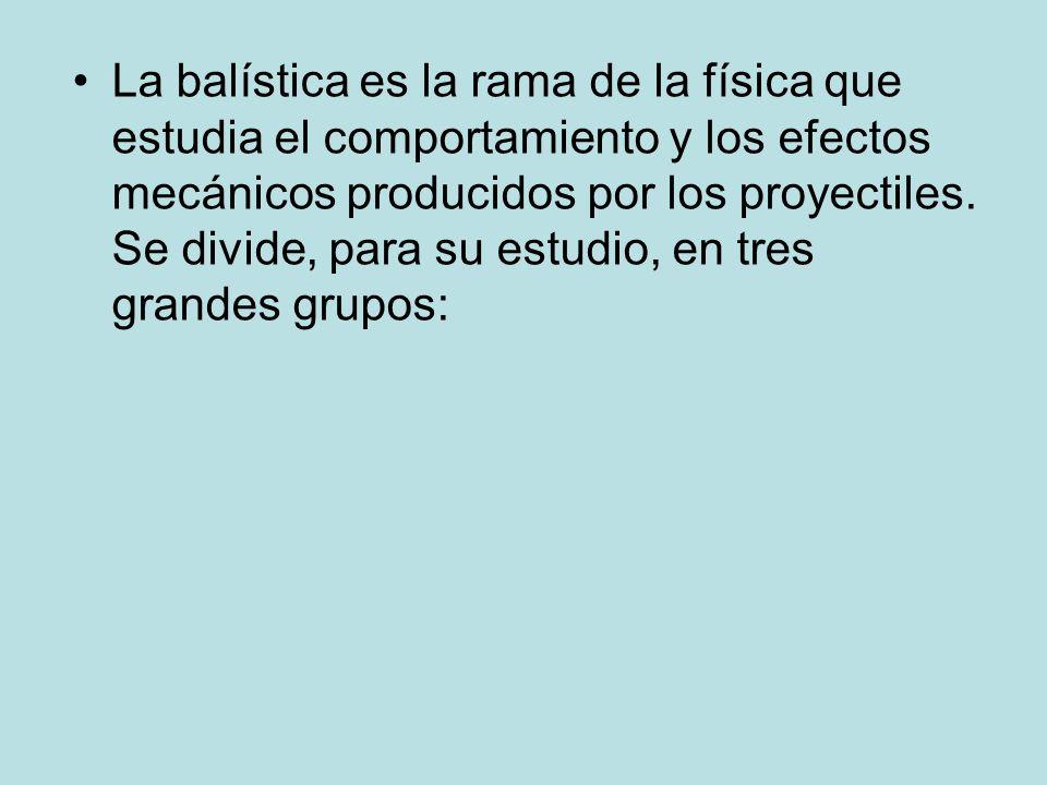 La balística es la rama de la física que estudia el comportamiento y los efectos mecánicos producidos por los proyectiles.