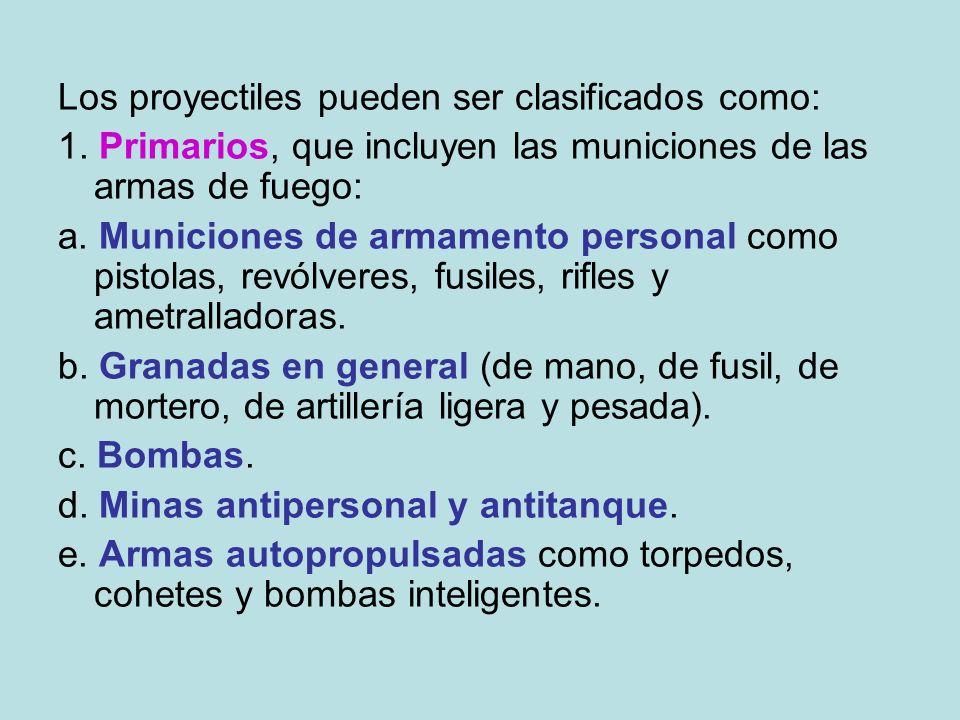 Los proyectiles pueden ser clasificados como: