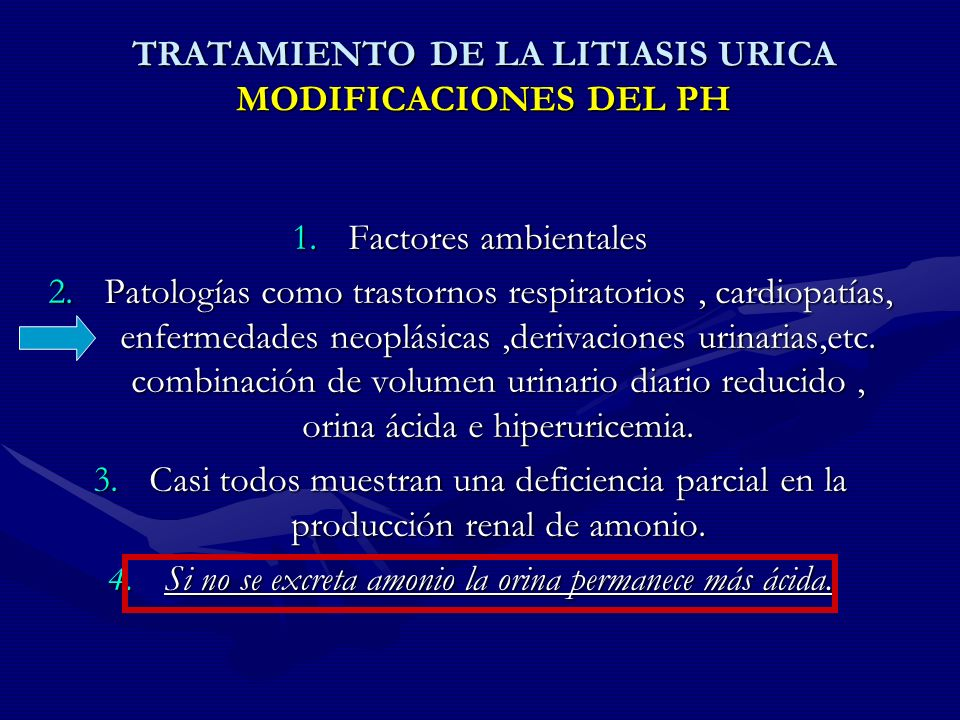 TRATAMIENTO DE LA LITIASIS URICA MODIFICACIONES DEL PH
