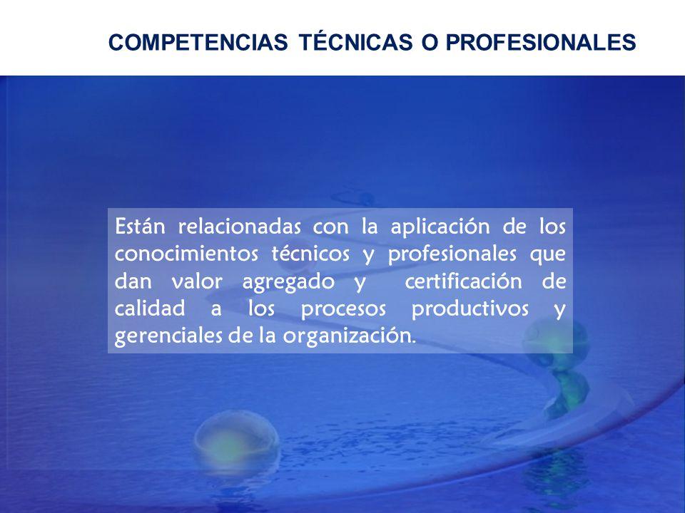 COMPETENCIAS TÉCNICAS O PROFESIONALES