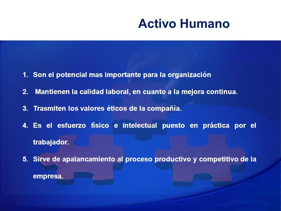 Activo Humano Son el potencial mas importante para la organización