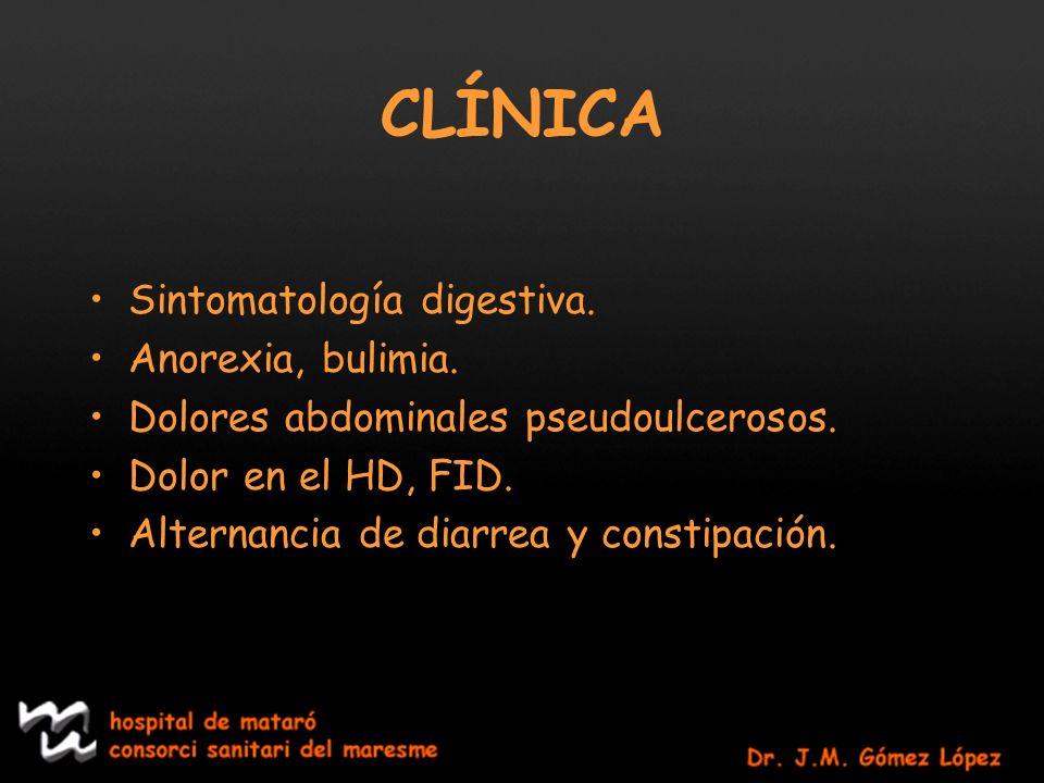 CLÍNICA Sintomatología digestiva. Anorexia, bulimia.