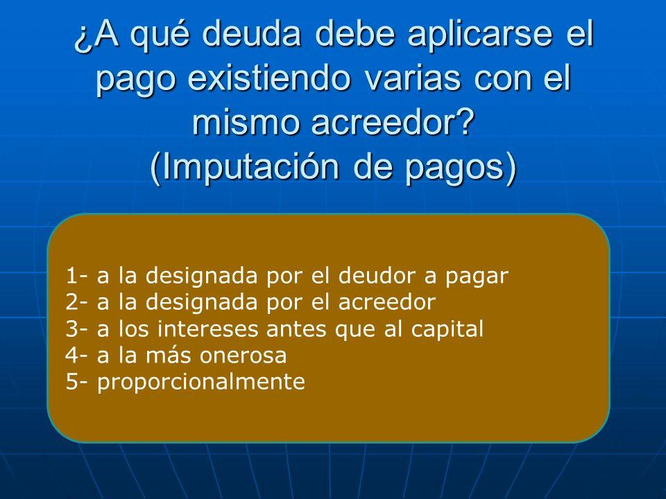 ¿A qué deuda debe aplicarse el pago existiendo varias con el mismo acreedor (Imputación de pagos)