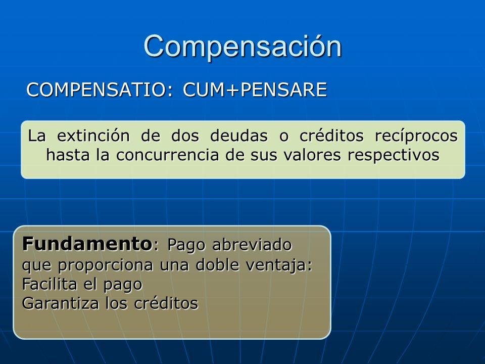 Compensación COMPENSATIO: CUM+PENSARE