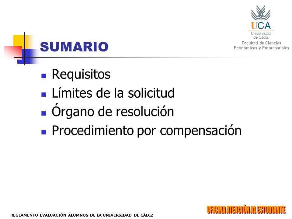 SUMARIO Requisitos Límites de la solicitud Órgano de resolución Procedimiento por compensación