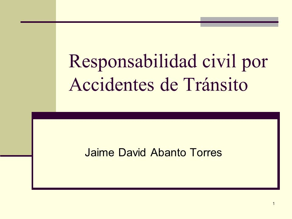 Responsabilidad civil por Accidentes de Tránsito