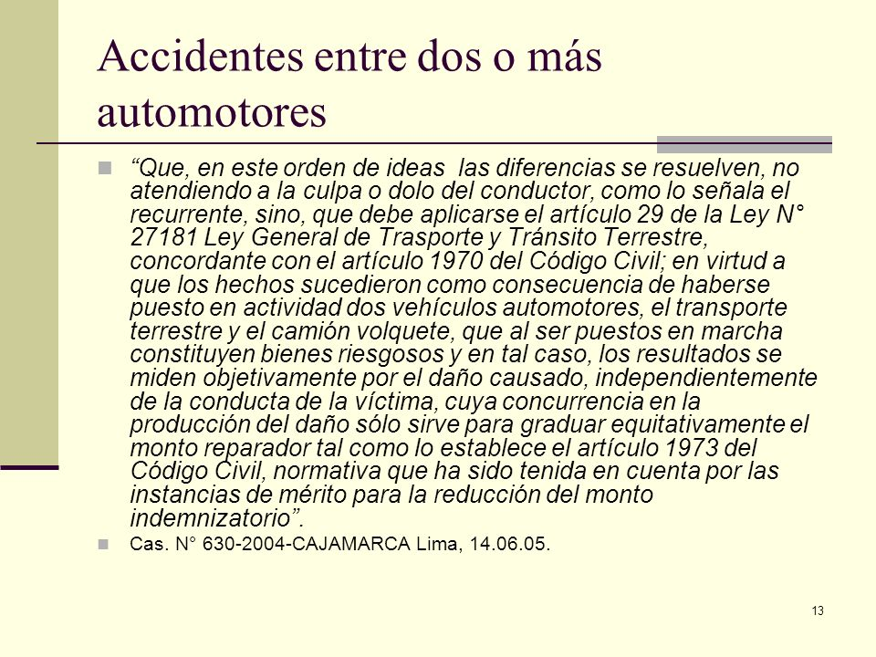 Accidentes entre dos o más automotores