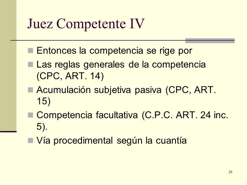Juez Competente IV Entonces la competencia se rige por