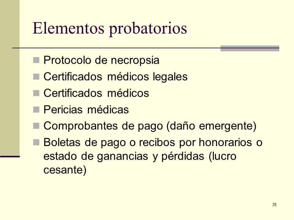 Elementos probatorios