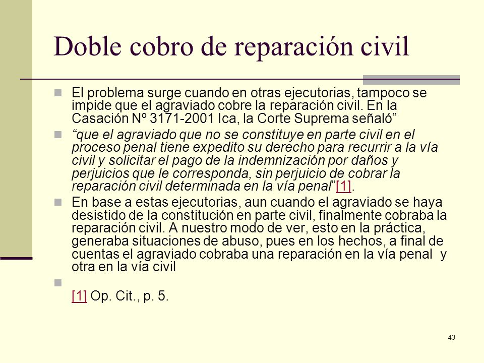 Doble cobro de reparación civil