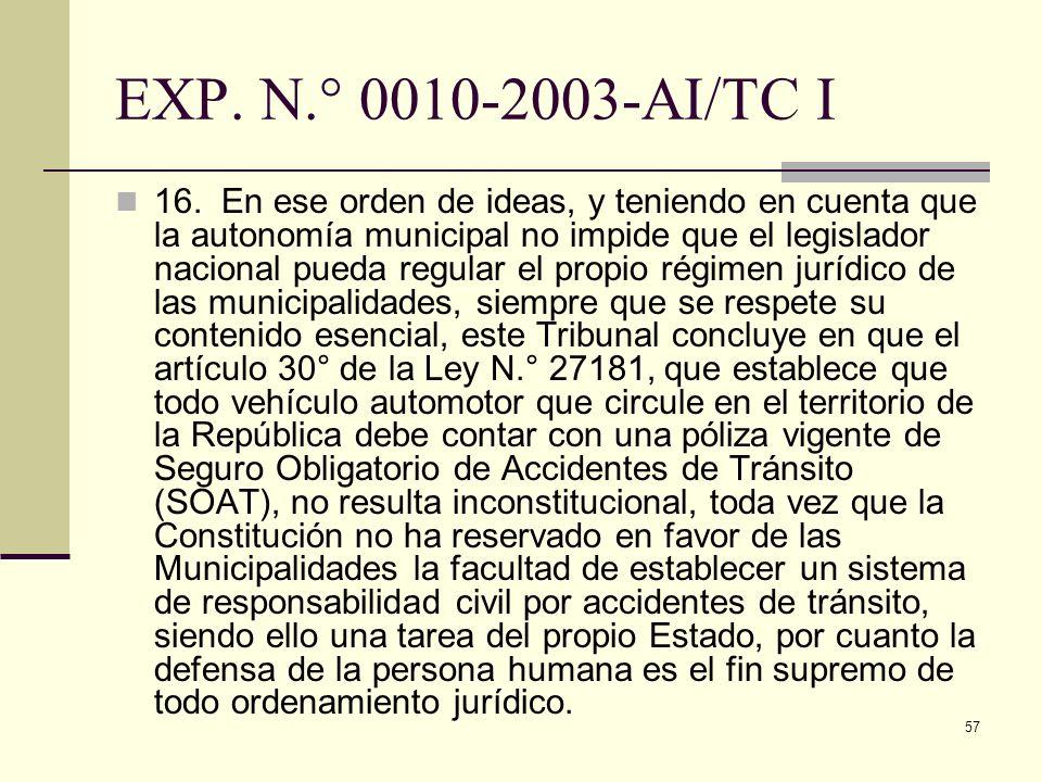 EXP. N.° 0010-2003-AI/TC I