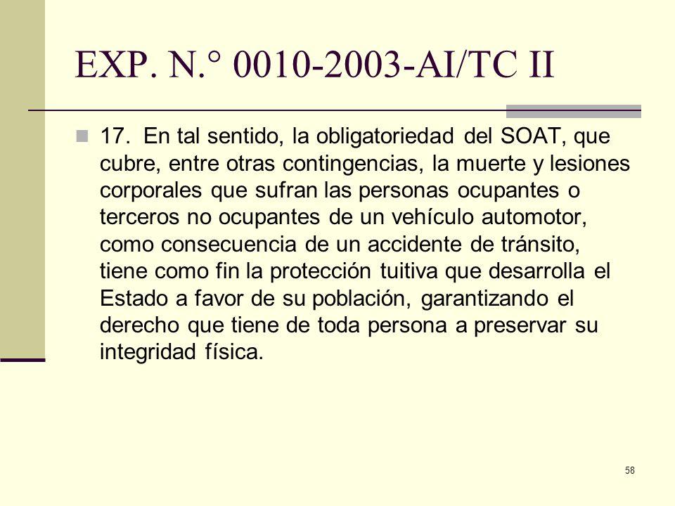 EXP. N.° 0010-2003-AI/TC II