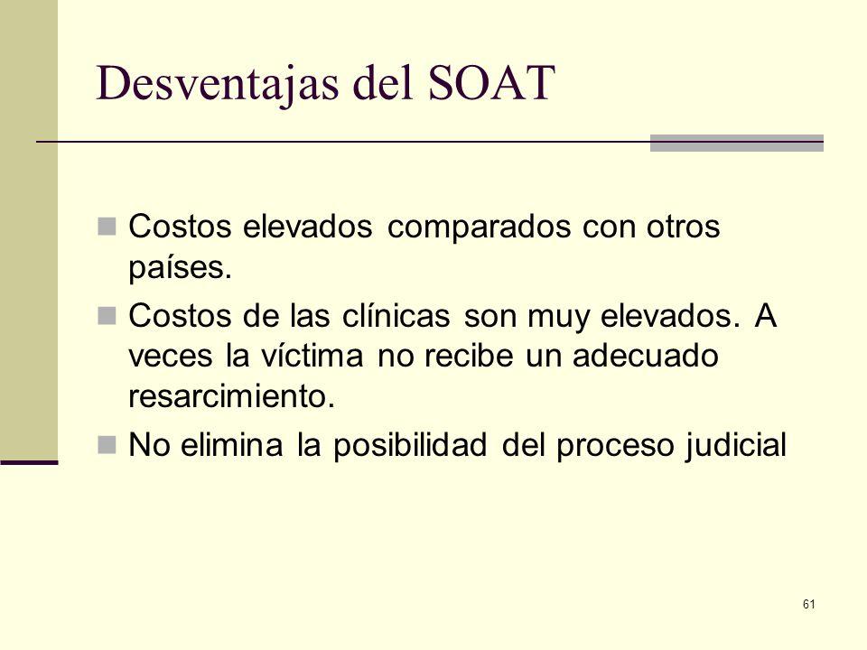 Desventajas del SOAT Costos elevados comparados con otros países.