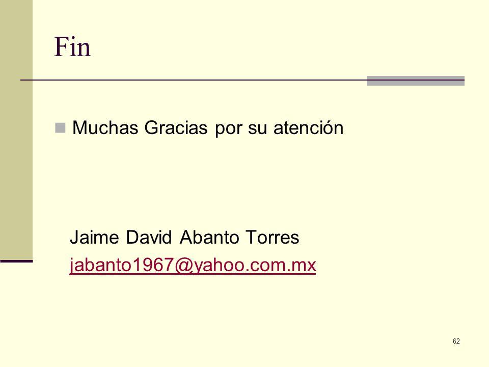 Fin Muchas Gracias por su atención Jaime David Abanto Torres