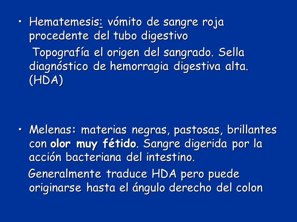 Hematemesis: vómito de sangre roja procedente del tubo digestivo