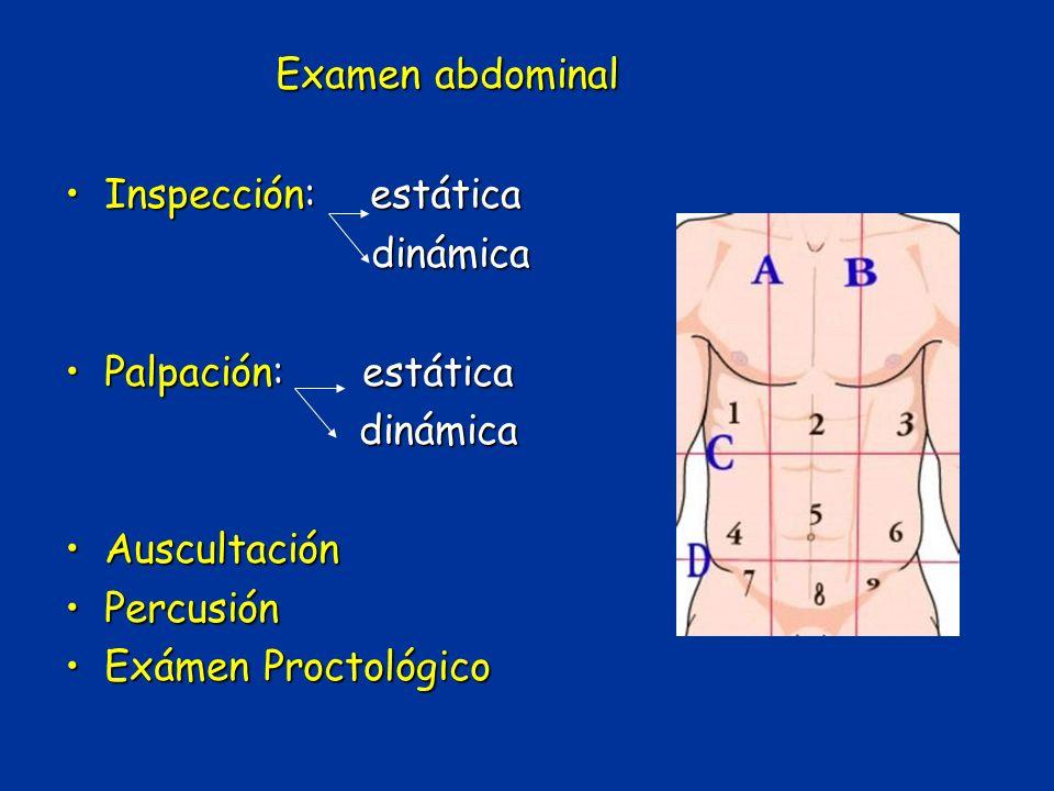 Examen abdominal Inspección: estática dinámica Palpación: estática
