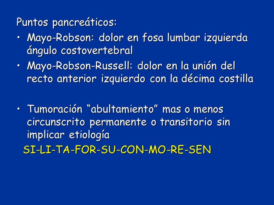 Puntos pancreáticos: Mayo-Robson: dolor en fosa lumbar izquierda ángulo costovertebral.