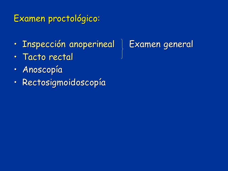 Examen proctológico: Inspección anoperineal Examen general.