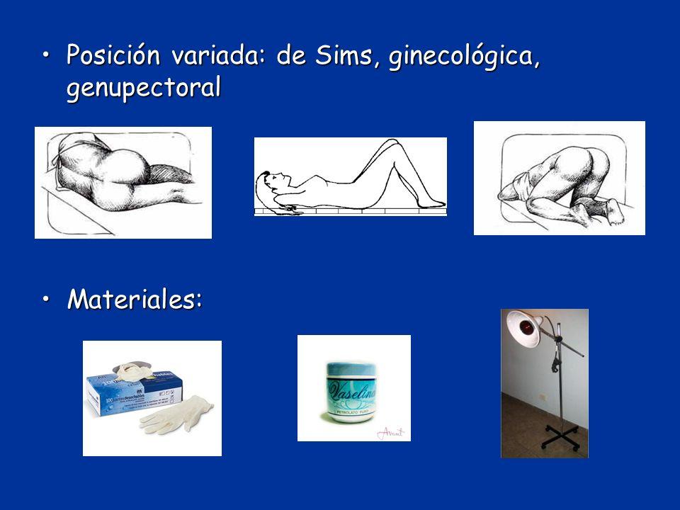Posición variada: de Sims, ginecológica, genupectoral