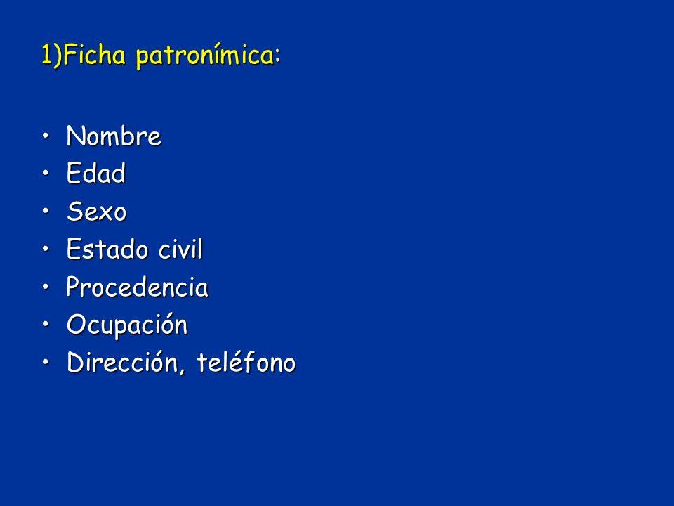 1)Ficha patronímica: Nombre Edad Sexo Estado civil Procedencia Ocupación Dirección, teléfono