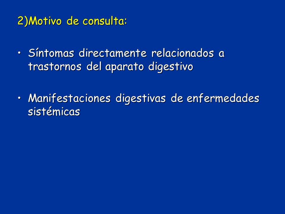 2)Motivo de consulta: Síntomas directamente relacionados a trastornos del aparato digestivo.