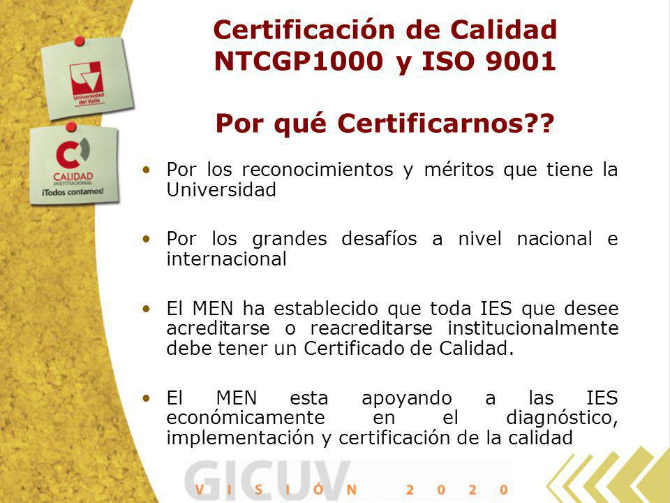 Certificación de Calidad NTCGP1000 y ISO 9001 Por qué Certificarnos