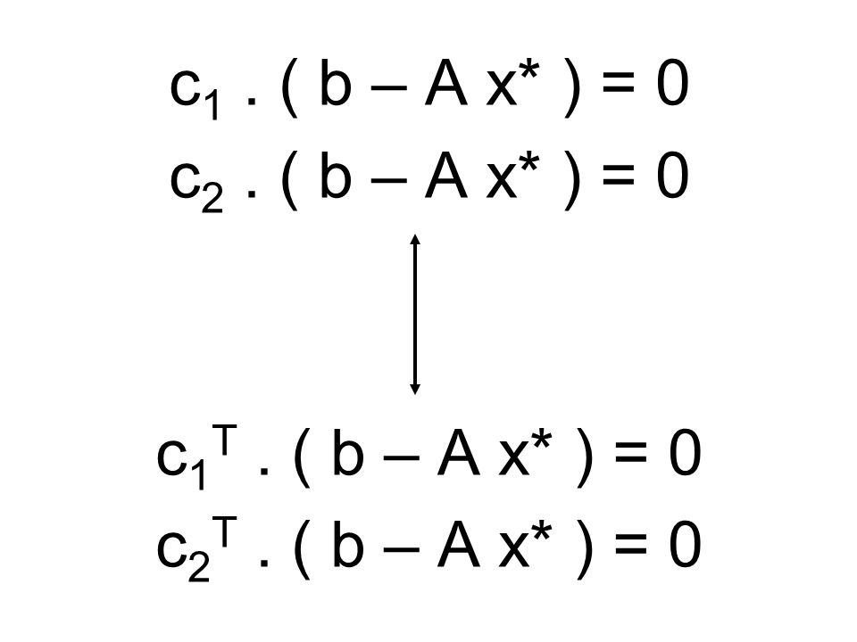 c1 . ( b – A x* ) = 0 c2 . ( b – A x* ) = 0 c1T . ( b – A x* ) = 0 c2T . ( b – A x* ) = 0