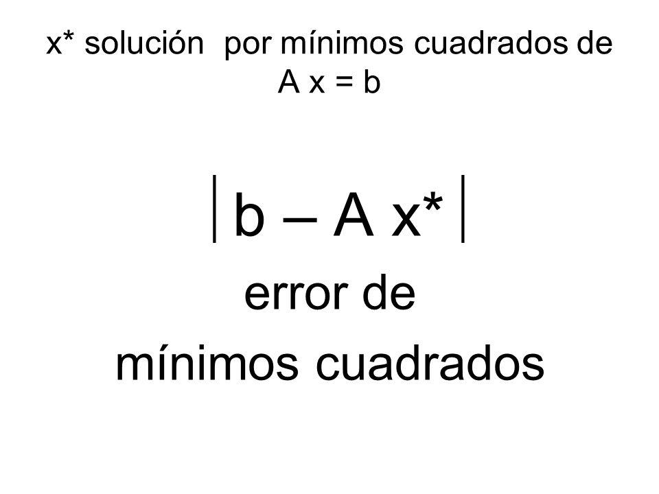 x* solución por mínimos cuadrados de A x = b