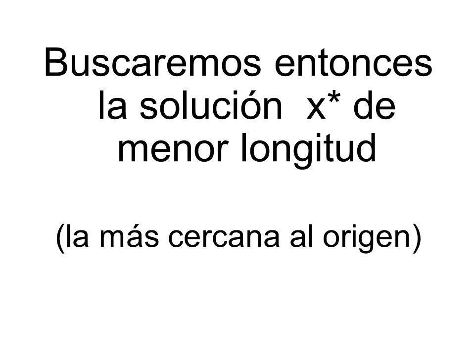 Buscaremos entonces la solución x* de menor longitud