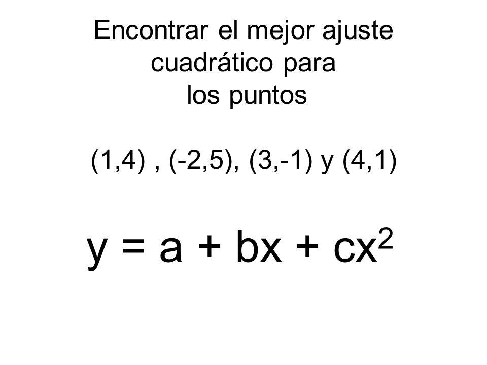 Encontrar el mejor ajuste cuadrático para los puntos (1,4) , (-2,5), (3,-1) y (4,1)