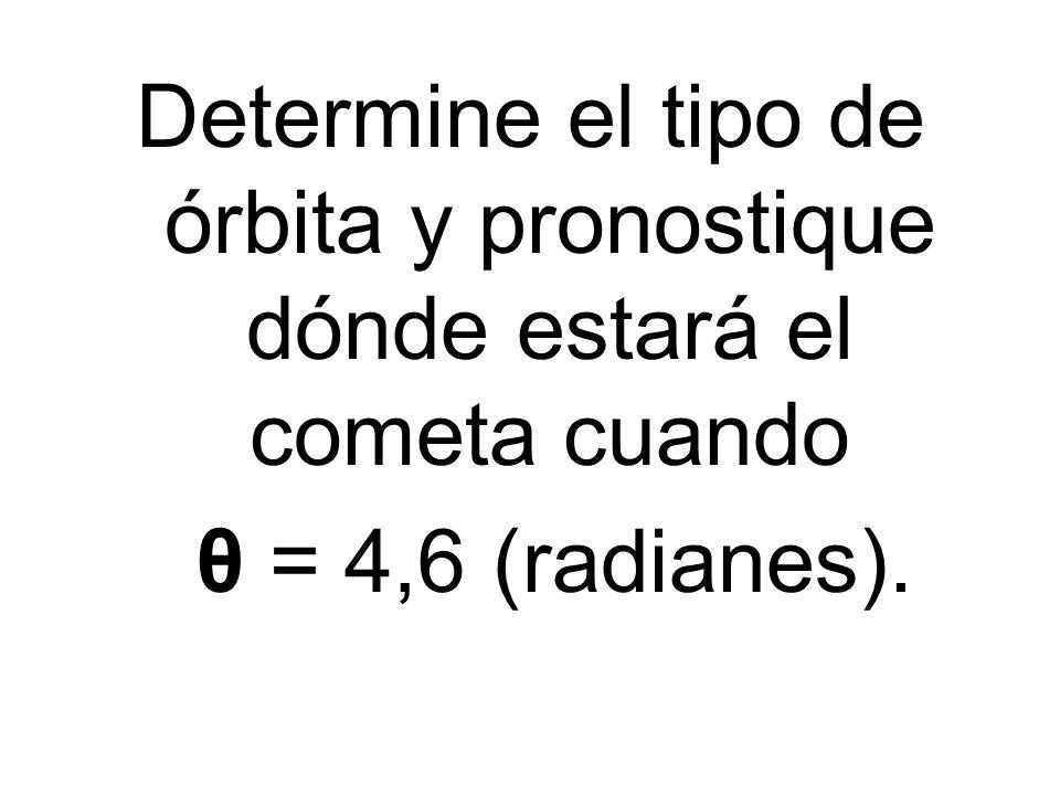 Determine el tipo de órbita y pronostique dónde estará el cometa cuando