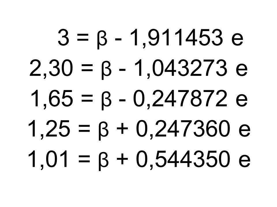 3 = β - 1,911453 e 2,30 = β - 1,043273 e. 1,65 = β - 0,247872 e.