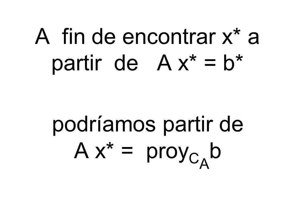 A fin de encontrar x* a partir de A x* = b*