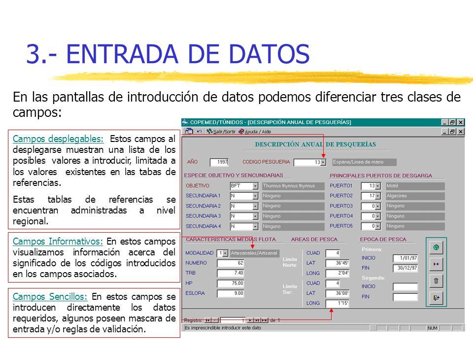 3.- ENTRADA DE DATOS En las pantallas de introducción de datos podemos diferenciar tres clases de campos: